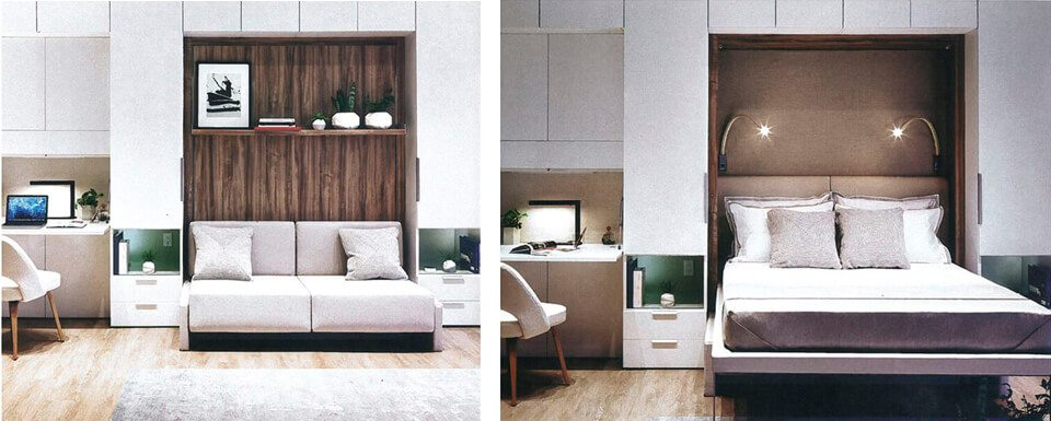 Artist rendering of modular furniture in 'A'ali'i studio residence.